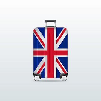 Saco de bagagem de viagem com a bandeira do reino unido.
