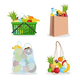 Saco de barbante, carrinho de plástico de supermercado cheio de comida. saco de compras de redes de algodão ecológicas. agricultura.