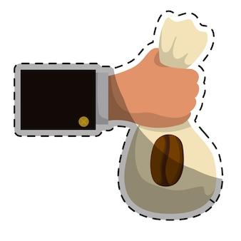 Saco de café bege no ícone de mão
