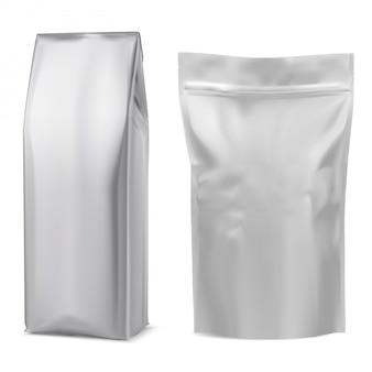 Saco de café em folha. bolsa branca. pacote 3d