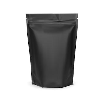 Saco de café. pacote de papel alumínio preto. maquete em branco. projeto de bolsa de nozes para alimentos