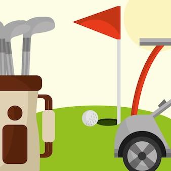 Saco de carro de clube de golfe e bandeira vermelha no campo