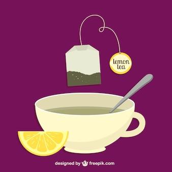 Saco de chá de limão e um copo vector