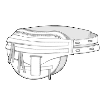 Saco de cintura moda modelo de vetor de desenho técnico plana
