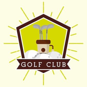 Saco de clube de golfe e bolas de estilo grunge de rótulo