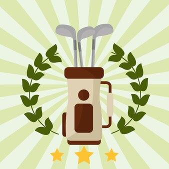 Saco de clube de golfe emblema de grinalda de louro