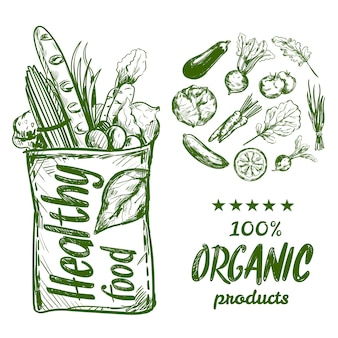 Saco de comida saudável mão desenhada