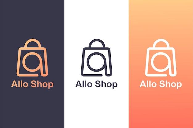 Saco de compra com a letra a, modelo de logotipo de loja online. logotipo.