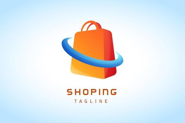 Saco de compras amarelo laranja com logotipo gradiente de anel azul