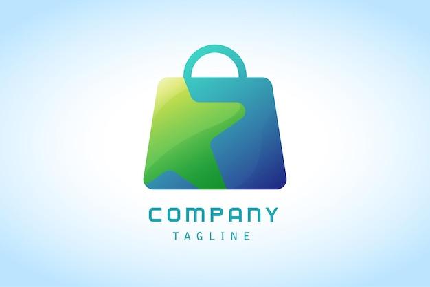 Saco de compras azul com logotipo gradiente de estrela verde corporativa
