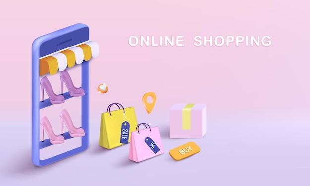 Saco de compras com caixa e sapatos para compras online