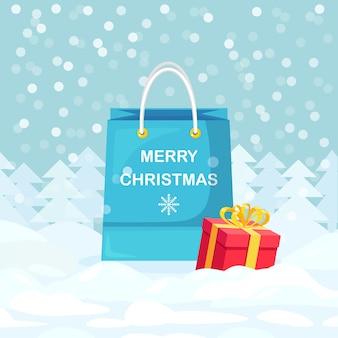 Saco de compras com caixas de presente, flocos de neve. natal, liquidação de ano novo