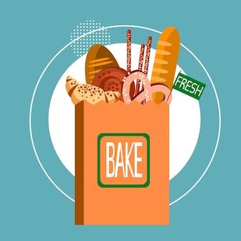 Saco de compras com comida de cozinheiro de pastelaria de padaria fresco