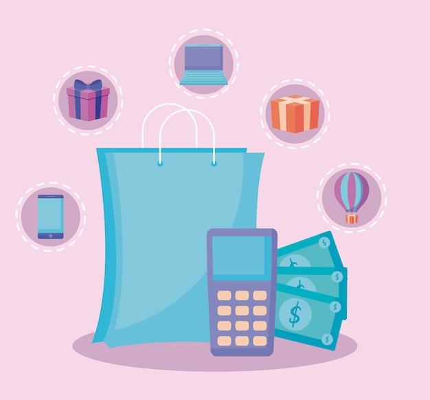 Saco de compras com dataphone e conjunto de ícones