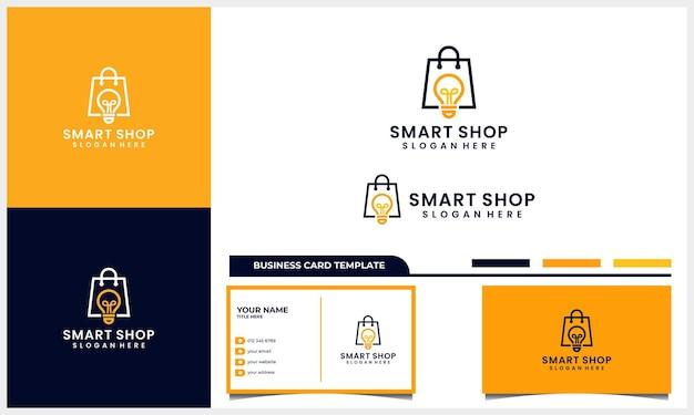 Saco de compras com logotipo de lâmpada inteligente e cartão de visita