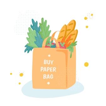 Saco de compras de papel com mantimentos. nenhum conceito de saco de plástico
