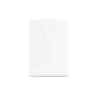 Saco de compras de varejo branco. embalagem de papel para loja de varejo, modelo em branco vazio para mercadoria da loja e marca do produto
