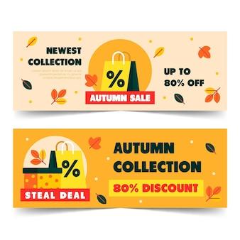 Saco de compras design plano venda outono banner