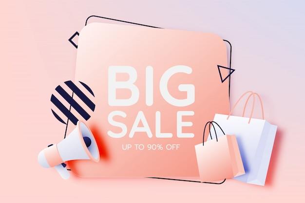 Saco de compras e megafone para banner de venda