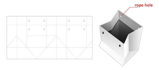 Saco de compras em formato quadrado com molde de corte e orifício de corda