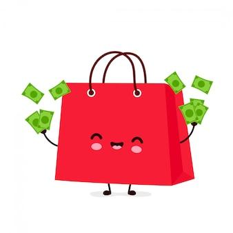 Saco de compras engraçado feliz bonito jogar dinheiro. desenho animado personagem ilustração ícone do design.