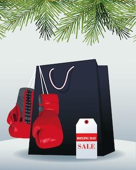 Saco de compras, luvas de boxe e etiqueta de banner de venda sobre cinza