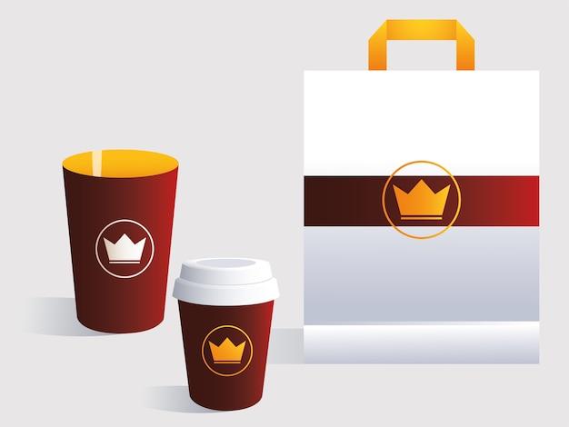 Saco de compras, modelo de identidade corporativa na ilustração de fundo branco
