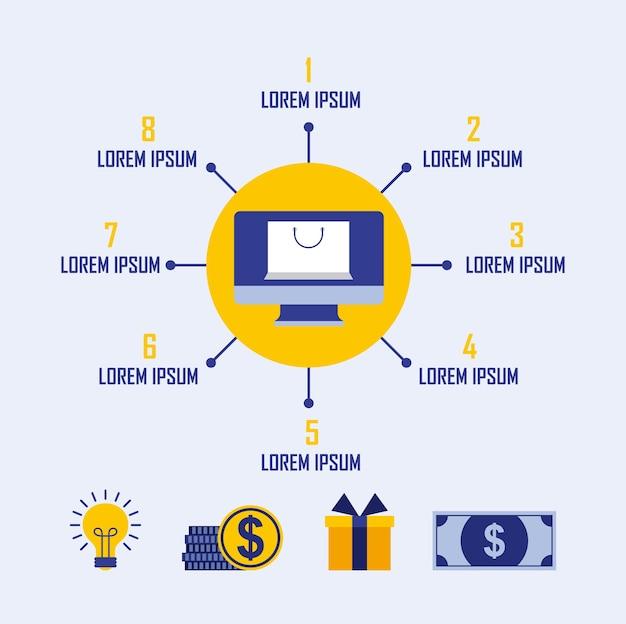 Saco de compras on-line presente dinheiro idéia infográfico negócio
