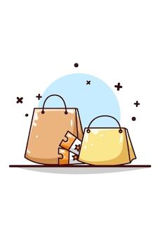 Saco de compras online com ilustração de voucher