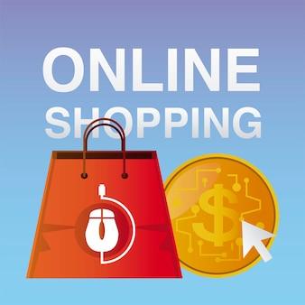 Saco de compras online e dinheiro clicando na ilustração