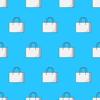 Saco de compras padrão sem emenda em um fundo azul. ilustração em vetor de tema de compras
