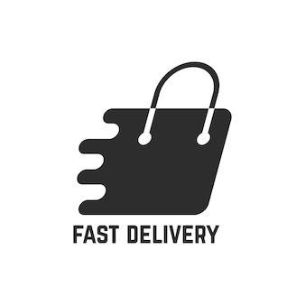 Saco de compras preto como entrega rápida. conceito de e-commerce, pagamento, bolsa, sacola de papel, comprador. isolado no fundo branco. ilustração em vetor design de marca moderna tendência de estilo simples