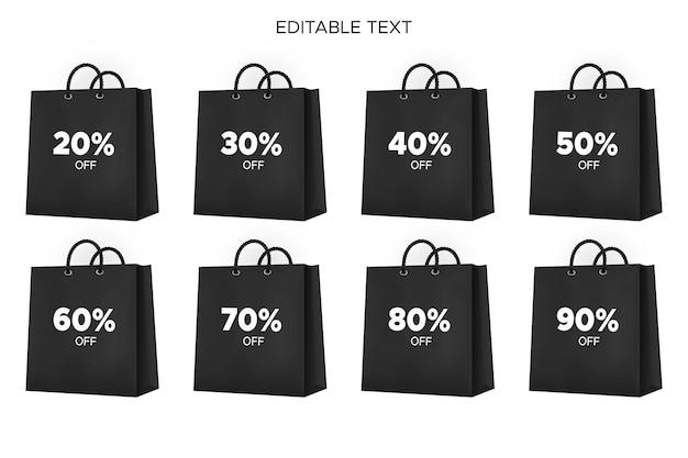 Saco de compras preto realista perfeito para a liquidação da black friday