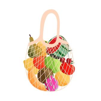 Saco de compras reutilizável cheio de frutas frescas. compra de mercearias e fazendeiros com alimentos naturais orgânicos.