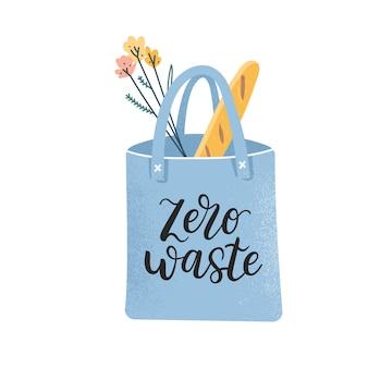 Saco de compras reutilizável com alimentos e logotipo com zero desperdício