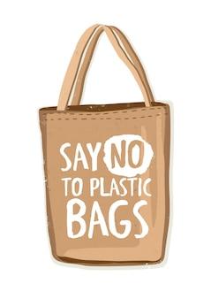 Saco de compras reutilizável de têxteis ecologicamente corretos ou comprador ecológico com a inscrição diga não às sacolas plásticas