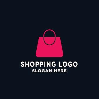 Saco de compras simples, loja online, modelo de design de logotipo de venda