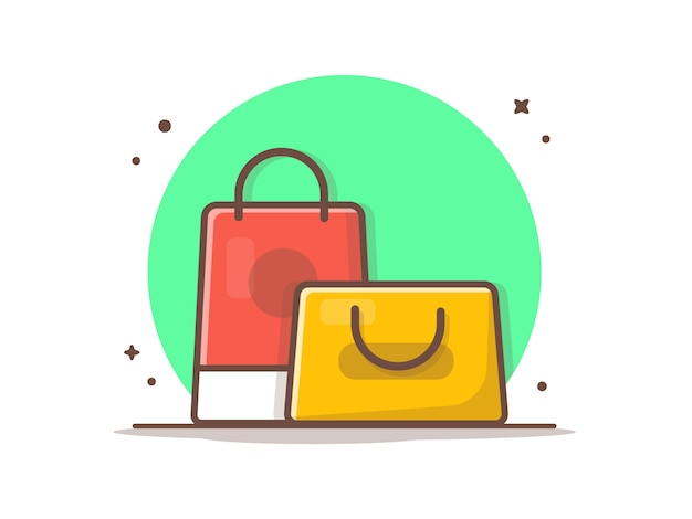 Saco de compras vector icon ilustração. conceito de ícone de desconto e venda