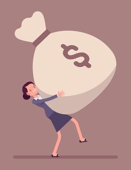 Saco de dinheiro arrastando empresária