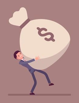 Saco de dinheiro arrastando empresário