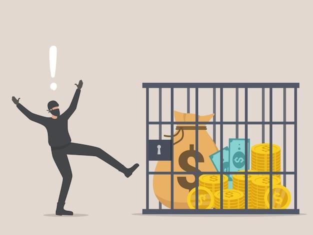 Saco de dinheiro com cifrão desejado pelo ladrão