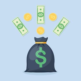Saco de dinheiro com cifrão e moeda, moedas
