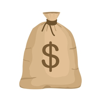 Saco de dinheiro com cifrão em estilo cartoon