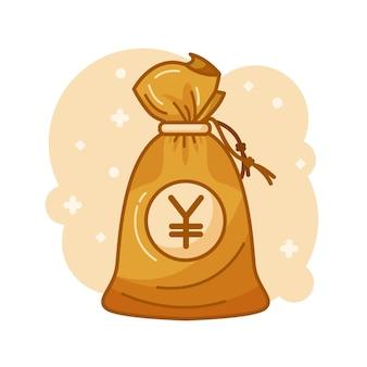 Saco de dinheiro com dinheiro iene dentro