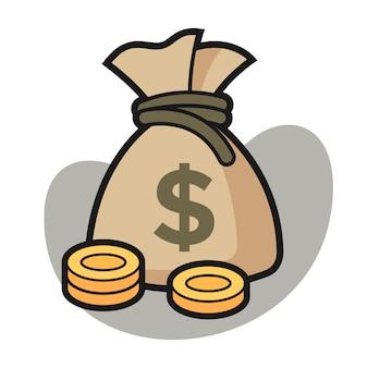 Saco de dinheiro com ilustração dos desenhos animados de moeda