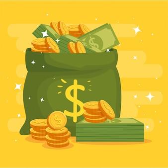 Saco de dinheiro com moedas e notas