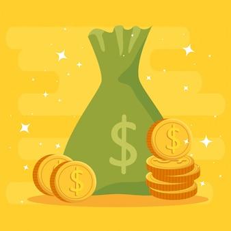 Saco de dinheiro com moedas isoladas