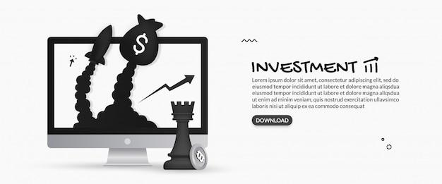 Saco de dinheiro e foguete lançando fora do monitor de mesa, conceito de planejamento de investimento