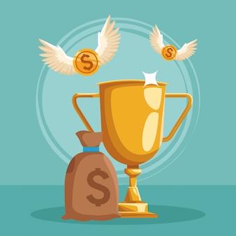 Saco de dinheiro e troféu de ouro com moedas de dinheiro com asas voando ao redor