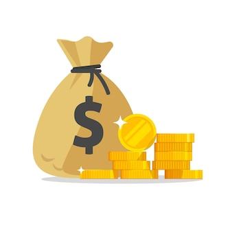 Saco de dinheiro ou saco de dinheiro perto de ícone de pilha de moedas ilustração plana dos desenhos animados
